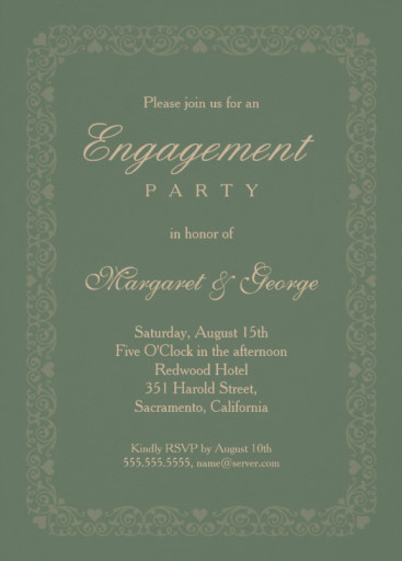 Elegant Asparagus Green Engagement Invitation Template   Ornamental Frame  Engagement Party Invites Templates