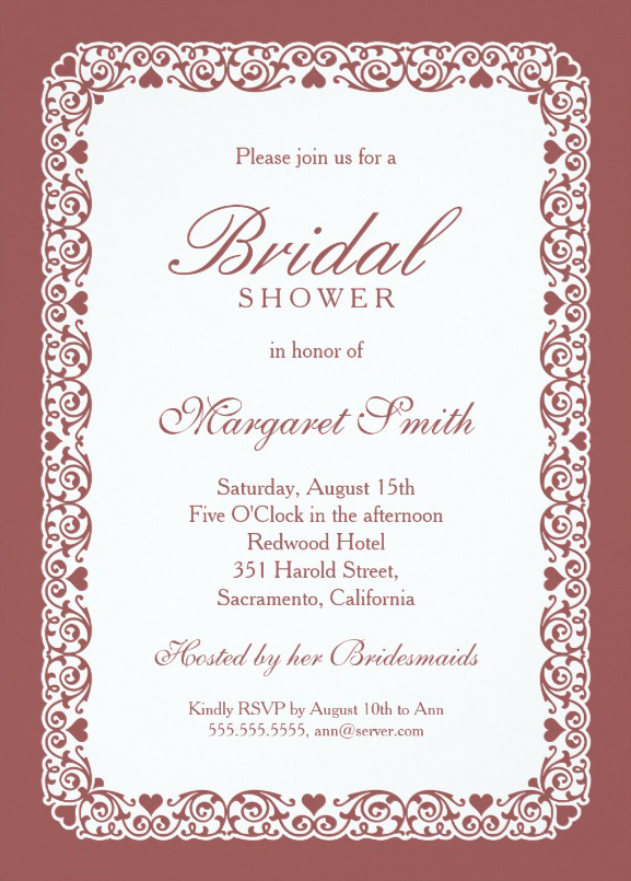elegant bordeaux bridal shower invitations