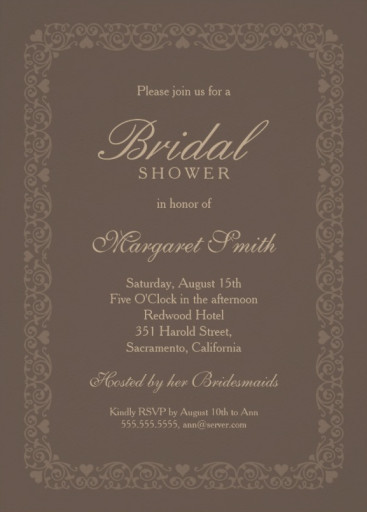 Elegant brown bridal shower invitations