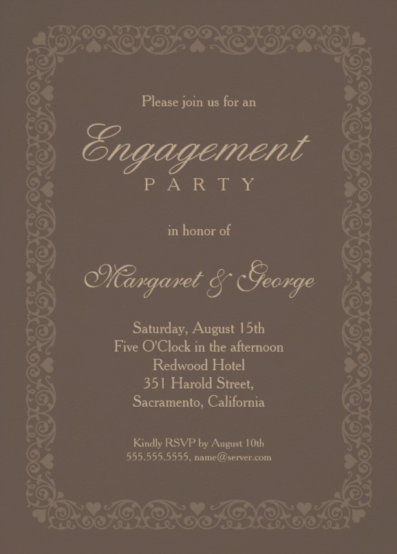 Elegant Brown Engagement Invitation Template Personalize