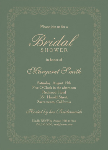 Elegant dark green bridal shower invitations