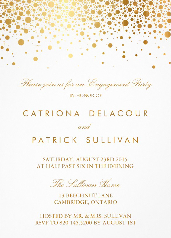 Elegant engagement invites - Golden circles
