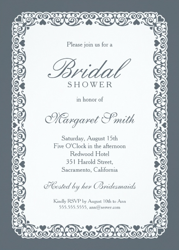 elegant grey blue bridal shower invitations