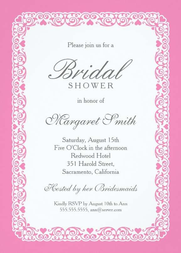 elegant pink and grey bridal shower invitations