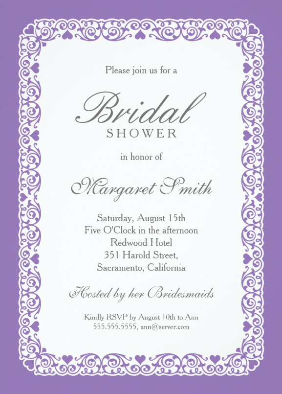 Elegant Purple And Gray Bridal Shower Invitations