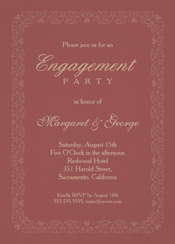 Elegant redwood engagement invitation template - ornamental frame
