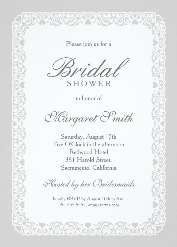 Elegant silver grey bridal shower invitations personalize for Online wedding shower invitations