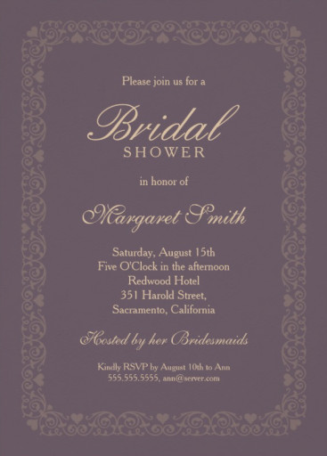 Elegant velvet bridal shower invitations