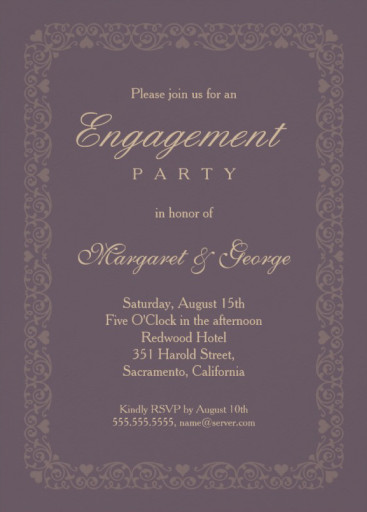 Elegant violet engagement invitation template - ornamental frame