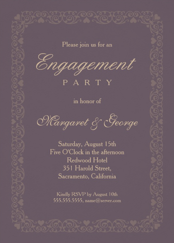Elegant Violet Engagement Invitation Template - Customize Online!