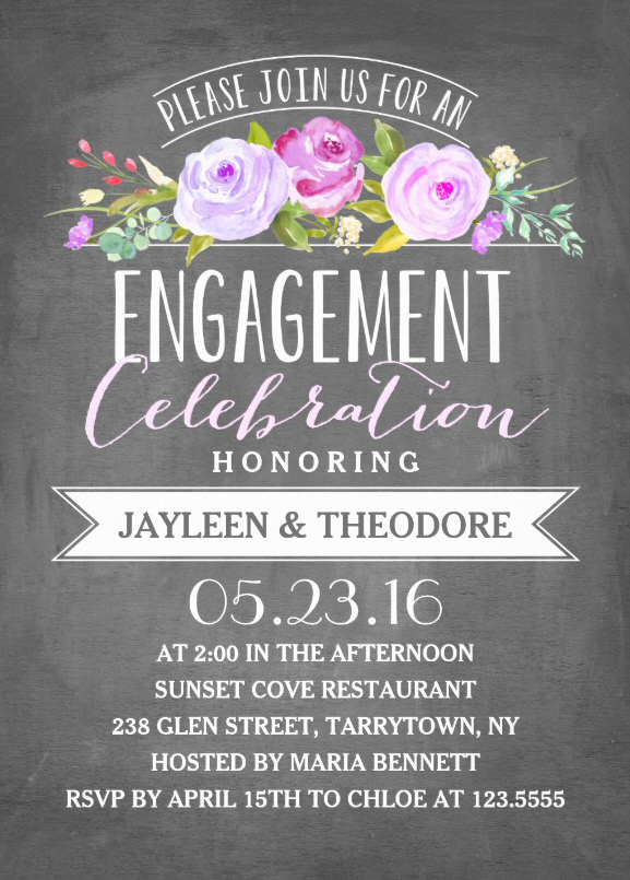 Engagement chalkboard invitation template Perfect for you