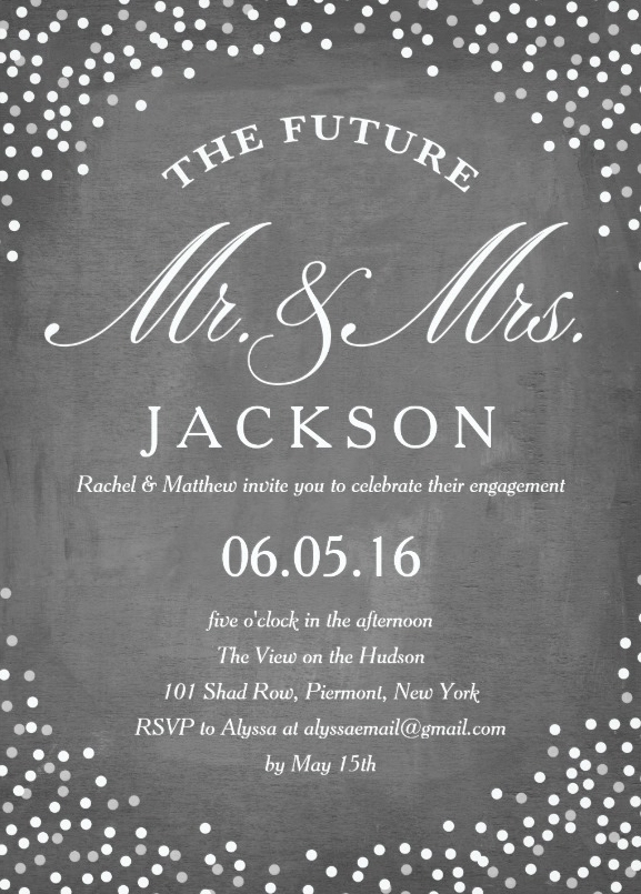 Future engagement invitation message on chalkboard