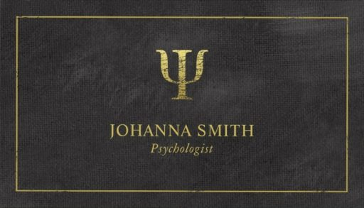Golden Psi psychologist business cards - Black canvas