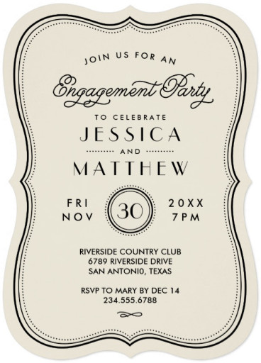 Engagement announcement archives superdazzle custom invitation card for engagement vintage ivory art deco stopboris Choice Image