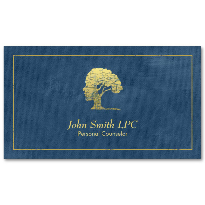 Living tree counselor business cards - Blue canvas