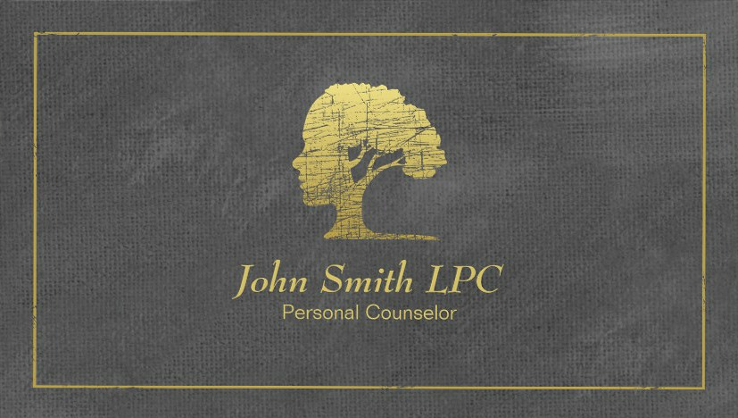Counselor business cards living tree logo grey canvas custom cards living tree counselor business cards grey canvas reheart Images