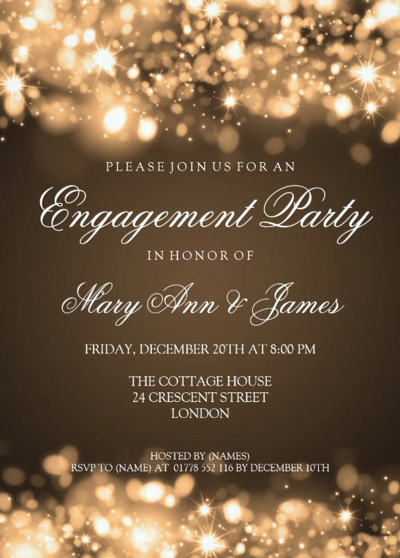 Sparkling lights engagement invitation to friends 5x7 Paper Invitation Card