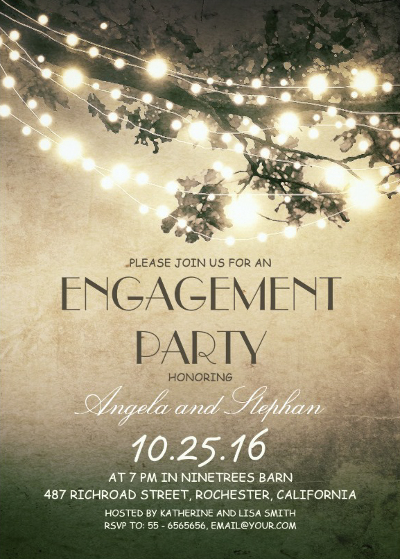 Tree branches engagement invitation card with rustic string lights