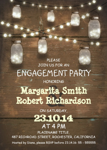 Wood engagement invitation card - rustic mason jars - lights