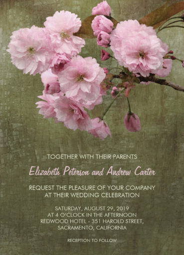 Cherry blossom wedding invitations - Rustic Sakura wedding