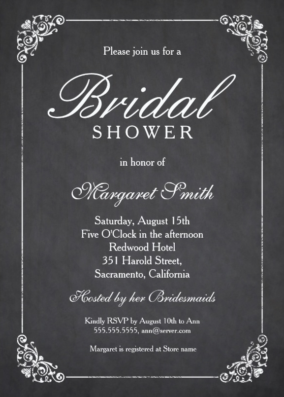 Elegant Chalkboard Bridal Shower Invitation Template