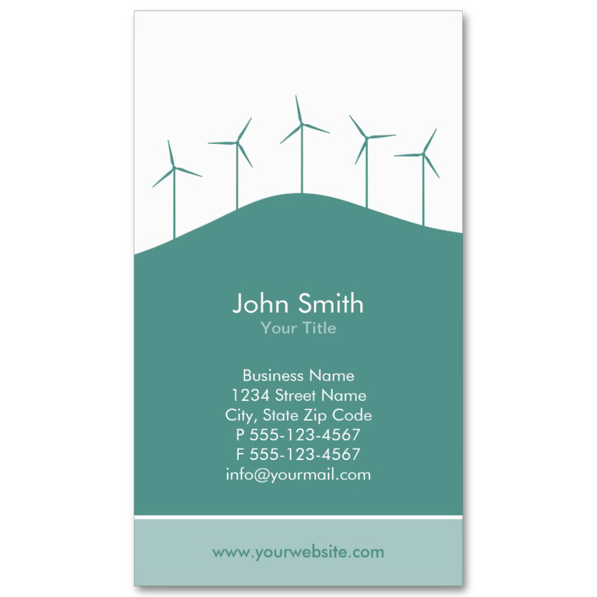 wind turbines business card template personalizes online