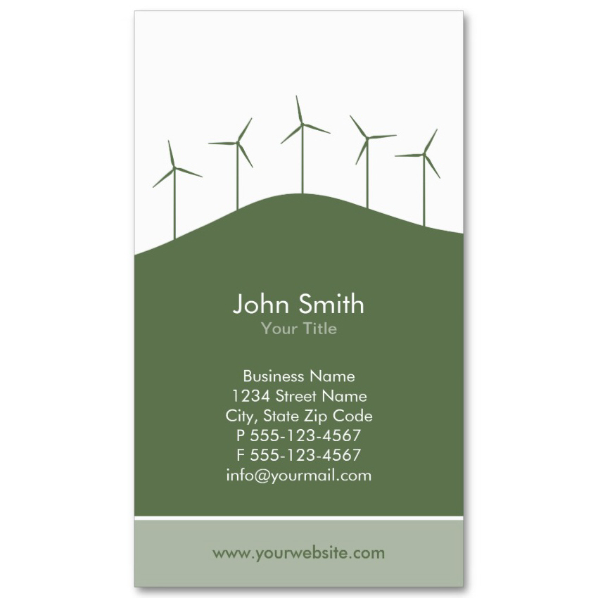 Wind turbines business card template green background