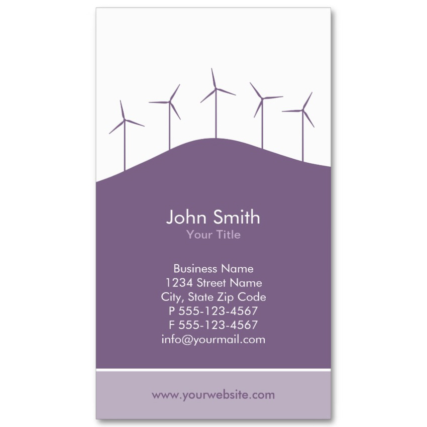 Wind turbines business card template purple background