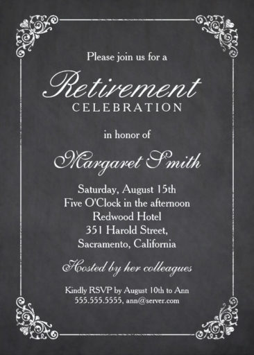 Elegant Chalkboard Retirement Party Invitation Template  Corporate Party Invitation Template