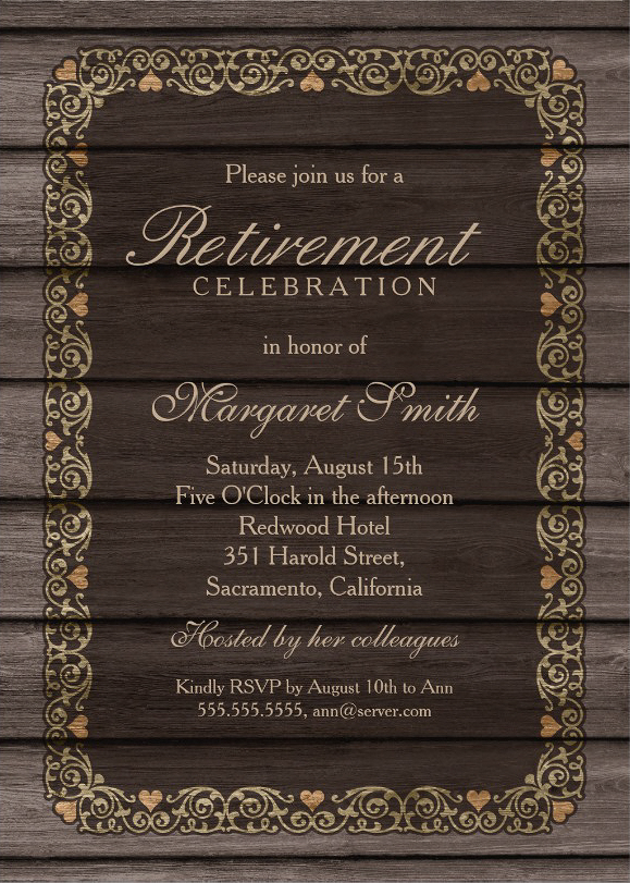 Wood Retirement Party Invitation Template