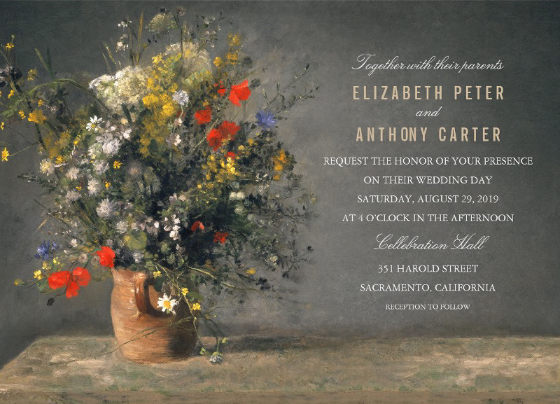 Rustic floral wedding invitations - Country Flowers In Clay Vase
