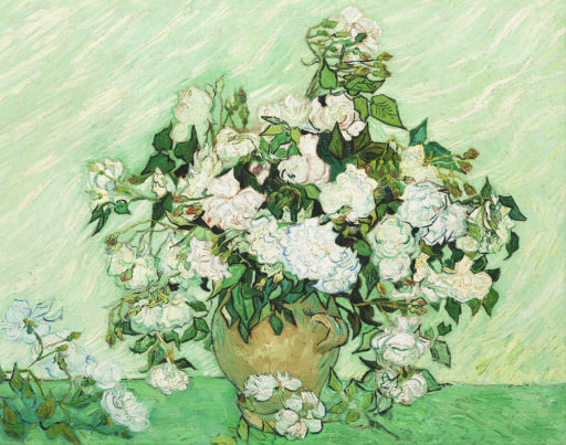 Vincent van Gogh Painting - Roses in a Vase Canvas Print