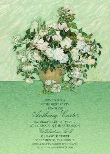 Vincent van Gogh Retirement Party Invitation With Roses