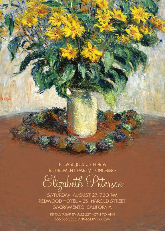 Vintage Painting Retirement Party Invitation With Sunflowers