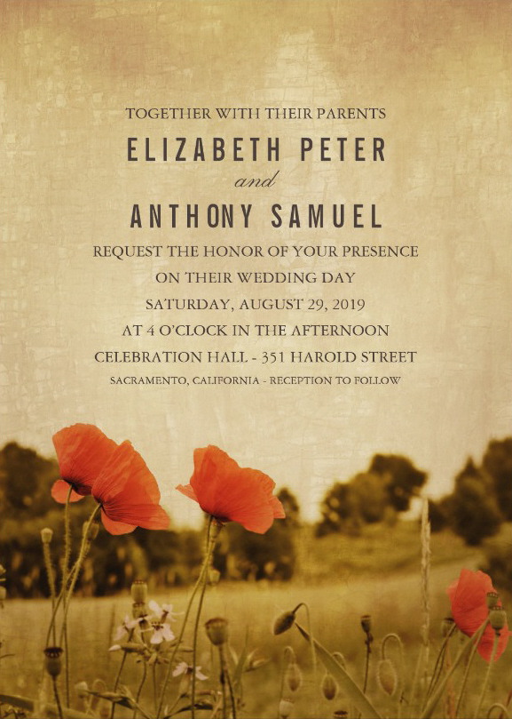 Vintage Poppy Flowers Wedding invitations - Rustic Meadow