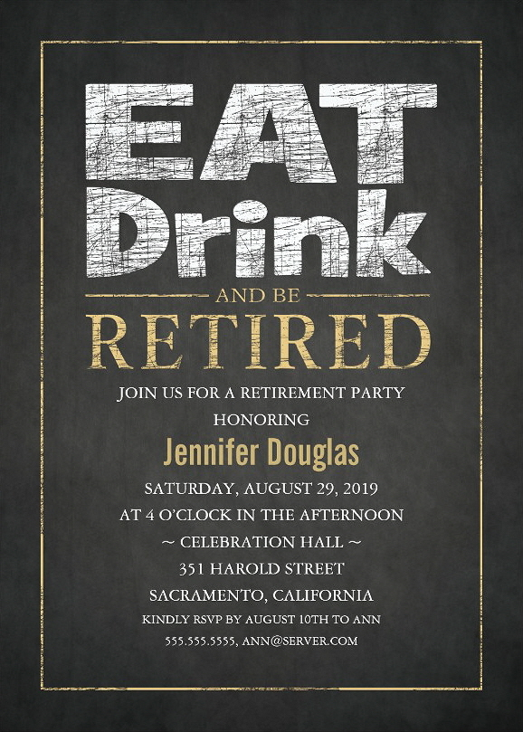Classic Gold Effect Retirement Party Invitation Template - Eat Drink Be Retired
