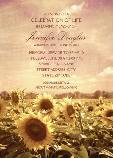 Country Sunflower Field Memorial Service Invitations