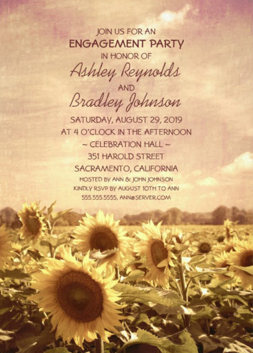 Country Sunflowers Engagement Party Invite