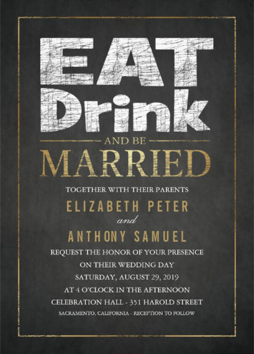 Superior Fancy Chalkboard Golden Effect Wedding Invitation   Eat Drink And Be Married