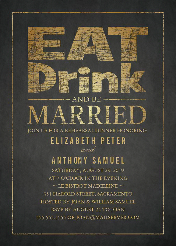 Gold Effect Rehearsal Dinner Invitations - Eat Drink Be Married!