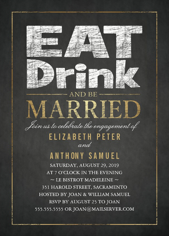 Gold Touch Engagement Party Invitations - Eat Drink and Be Married