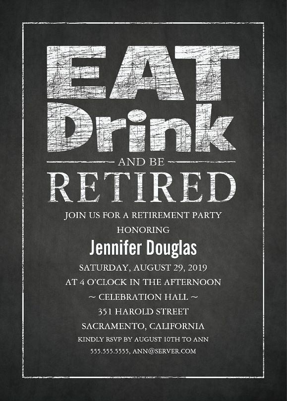Modern Chalkboard Retirement Party Invitation Template - Eat Drink Be Retired