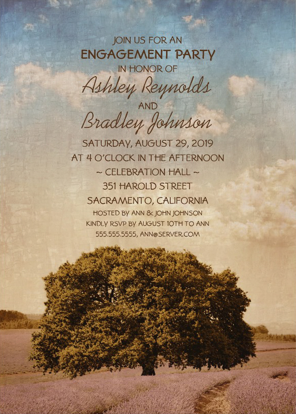 Old Oak Tree Engagement Party Invite Lush Lavender Field