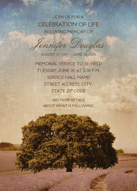 Old Oak Tree Lavender Field Memorial Service Invitations