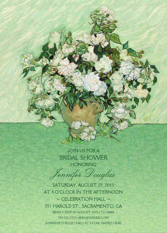 Roses Painting Floral Bridal Shower Invitations