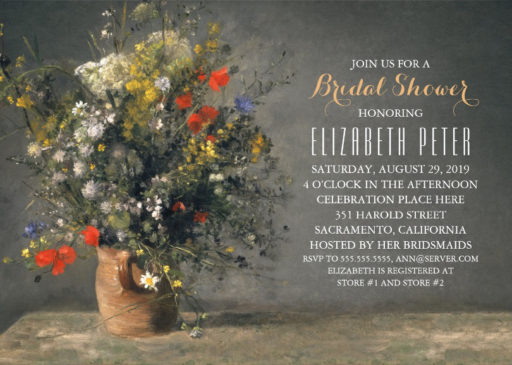 Rustic Floral Bridal Shower Invitations