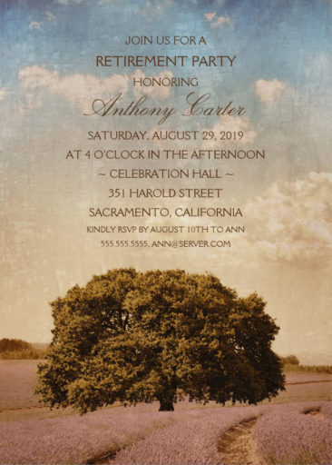 Rustic Lavender Field Retirement Party Invitations With Old Oak Tree