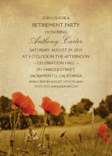 ustic Poppy Field Retirement Party Invitations