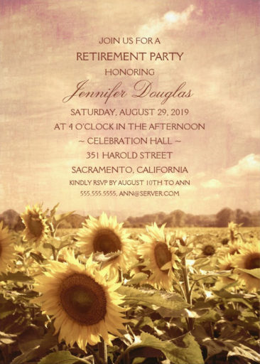 Rustic Sunflower Field Retirement Party Invitation