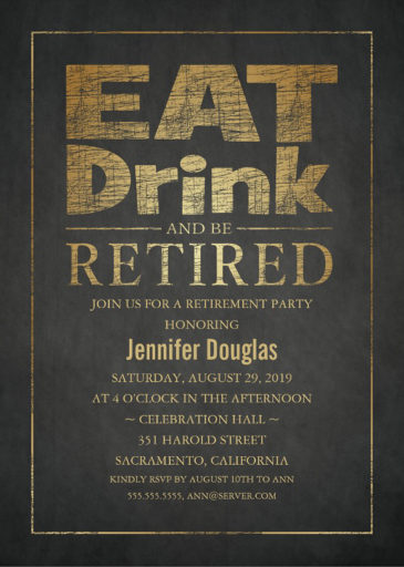 Stylish Gold Effect Retirement Party Invitation Template - Eat Drink Be Retired